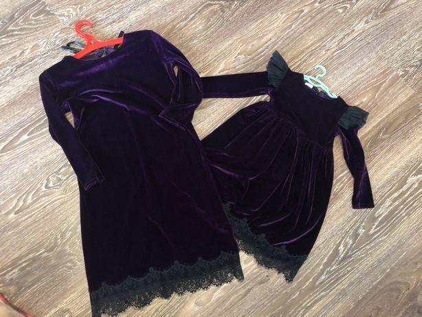 Фемели лук family look бархатные платья с крылышками новогодний костюм