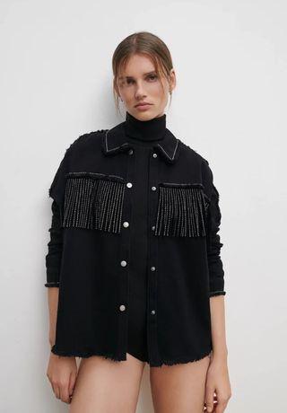 Новая джинсовая курточка рубашка с бахромой ZARA