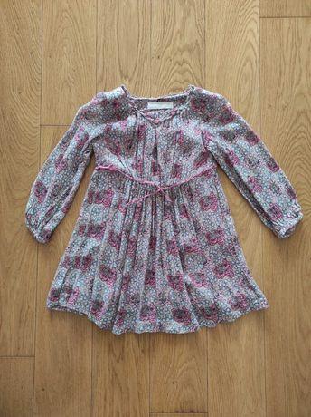 104 Zara sukienka sukieneczka bezowa w kwiaty zwiewna długi rękaw