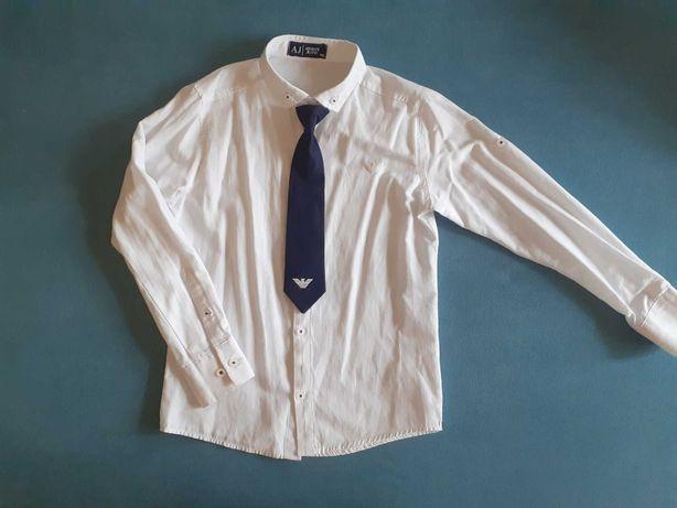 Белая рубашка Armani с галстуком р.116 (6-7 лет)