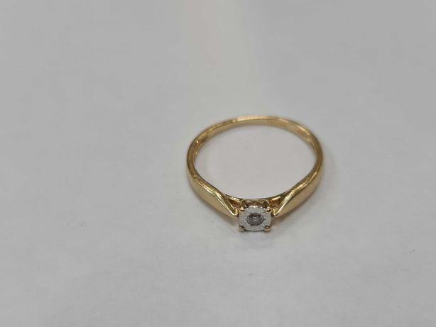 Delikatny złoty pierścionek damski/ 585/ 1.23 gram/ R8/ DIA 0.025CT
