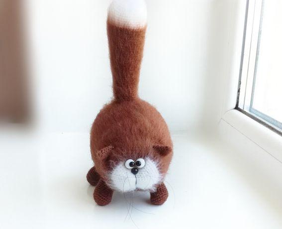 Кот, кошка, вязаная игрушка, подарок на день рождения