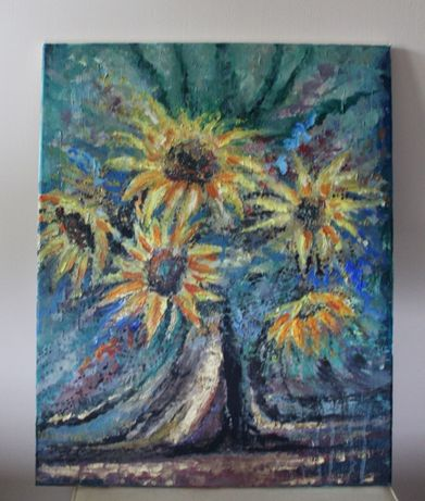 Sprzedam obraz 40x50. Kwiaty, słoneczniki.
