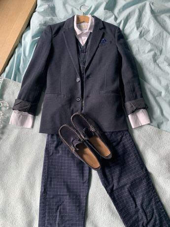 Komunia, garnitur, zestaw garnitur+buty, chlopiec lat 9
