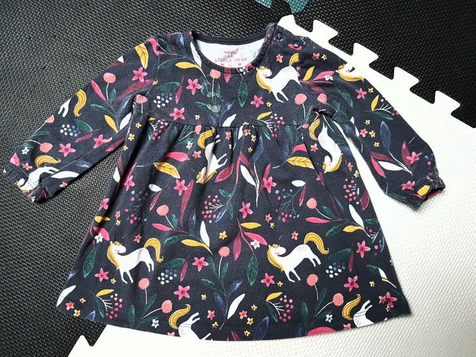 F&F sukienka długi rękaw jednorożce r. 74 Ostrołęka - image 1