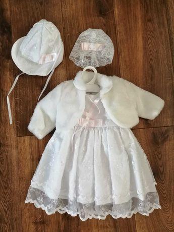Komplet zimowy sukienka koronkowa r62 na chrzest dla dziewczynki