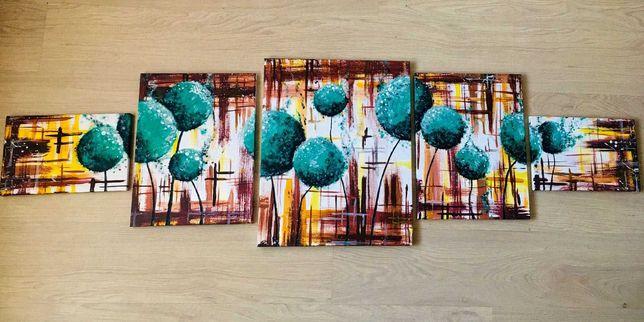 Модульная картина (5 частей) Акрил Абстракция  Dandelions