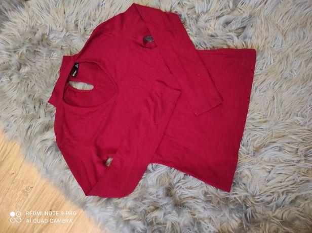 Bluzka czerwona z chokerem choker Bershka M L 38 40