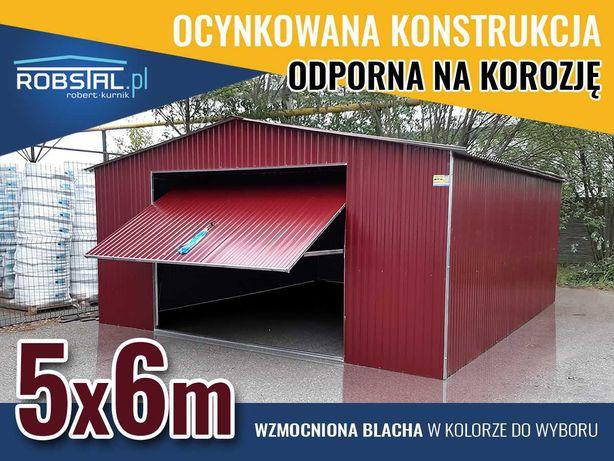 Garaż blaszany 5x6 OD PRODUCENTA, blaszak dwuspadowy z bramą uchylną