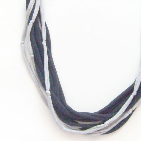bawełnina ozdoba na szyję, zawijka sznurkowa, czarno szary naszyjnik