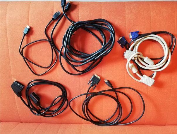 Zestaw różnych kabli RCA, RGB, miniJack, USB, PS2, Euro, HDMI i inne