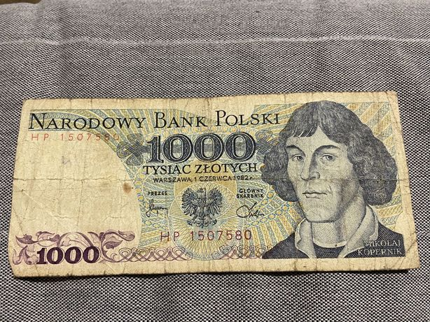 Banknot 1000 zlotych z 1982 roku