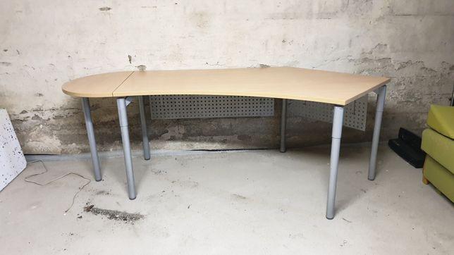 Duże biurko stół biurowy jasny blat metalowe nogi