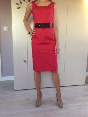 Solar czerwona malinowa sukienka z paskiem 34 falbanki