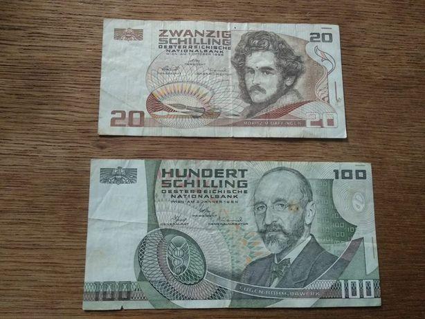 20 и 100 шиллингов Австрия