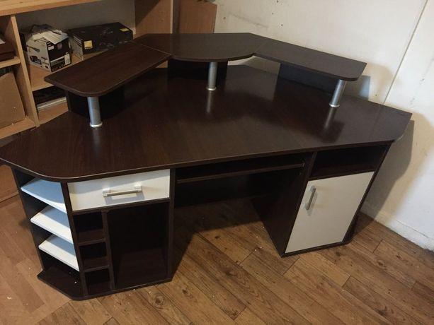 Narożne biurko komputerowe z nadstawką - DUŻE