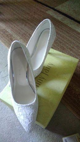 Buty ślubne, szpilki, czółenka koronkowe