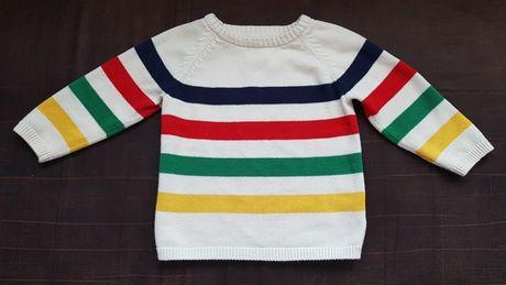 Elegancki kremowy sweterek chłopięcy H&M rozmiar 74