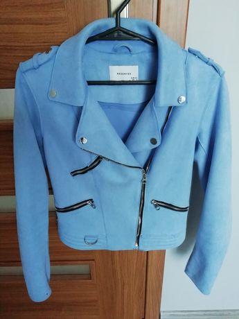 Ramoneska Reserved 34 zamszowa kurtka XS zamsz kurteczka błękitna