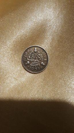 Moneta 3 Pensy Wielka Brytania Jerzy V 1934 r. Srebro