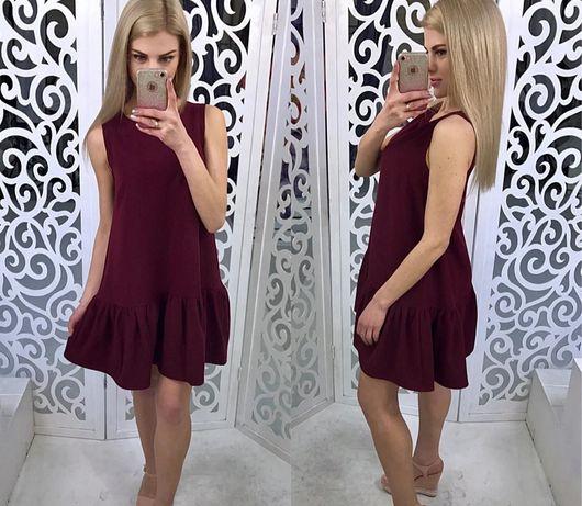 Платье бордовое, летнее с воланом без рукавов (сукня бордо)