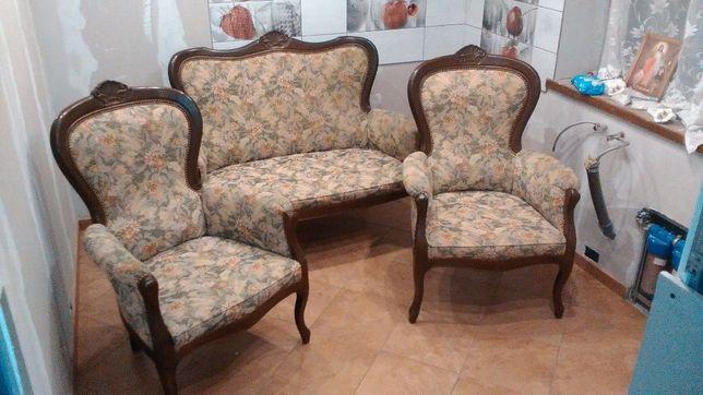 komplet ludwik sofa,dwa fotele,komoda