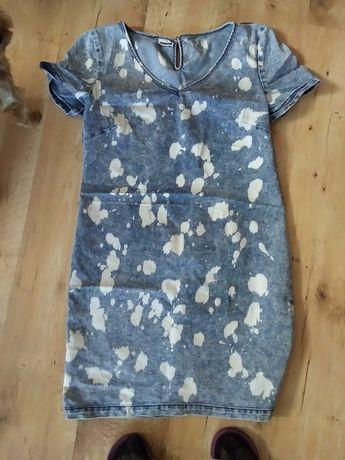 śliczna sukienka nakrapiany jeans