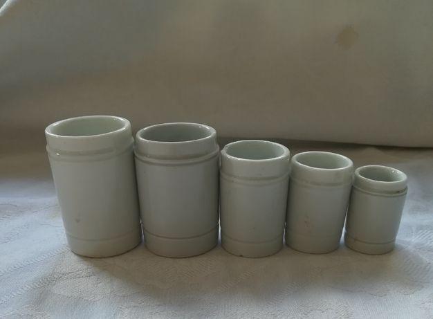 Zestaw 5szt przedwojennych słoiczków z porcelany