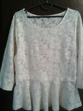 Ажурна (кружевная) блузка з баскою 46-48