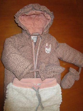 Jesienno-zimowy komplet: kurtka + spodnie Coccodrillo, r. 80, stan bdb