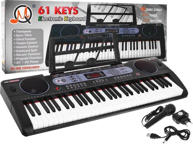 Keyboard Syntezator USB Bluetooth MP3 Stojak na nuty NOWY