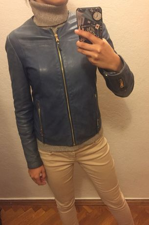 Куртка кожаная 100 % Massimo Dutti голубая