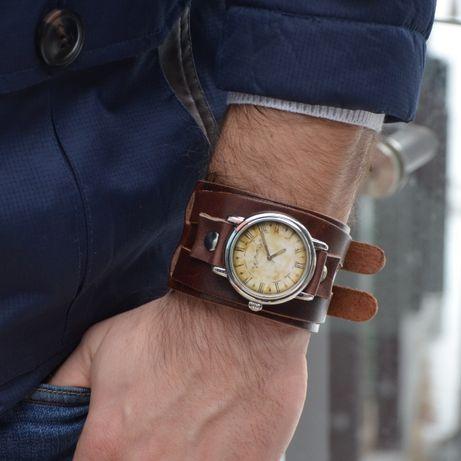 Męski zegarek Vintage Retro Bransoleta Skóra Nat