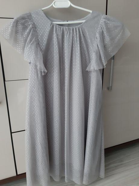 Sukienka tiul brokat ozdobne rekawy rozmiar 128/134