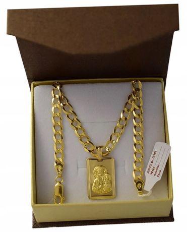 Złoty Łańcuszek z Medalikiem pr. 585 / + GRAWER