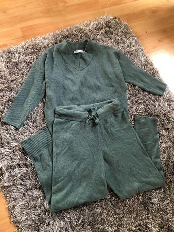 Morski zielony komplet dzianinowy spodnie sweter zara M/L