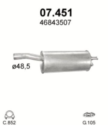 Глушитель Фиат Добло (Fiat Doblo) (07.451) Polmostrow алюминизирыванны