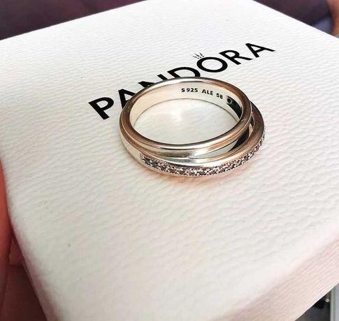 Nowy pierścionek Pandora 58 trzy pasma pave