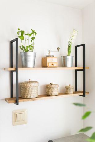 #P2 - Mała półka drewniana   kuchnia regał dąb drewno metal loft