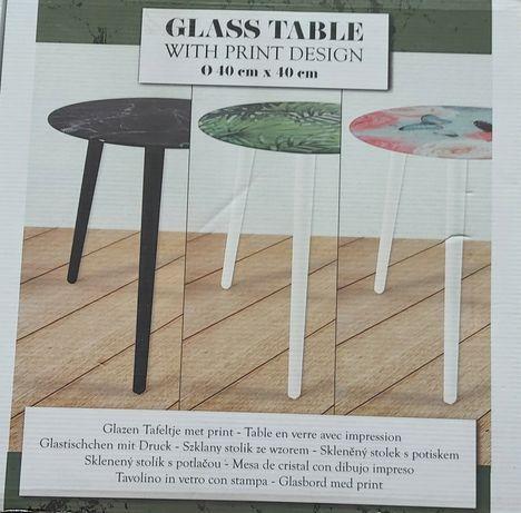 Stolik szklany ze wzorem kawowy 40x40