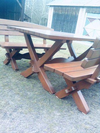 Stół ogrodowy drewniany z 2 ławkami