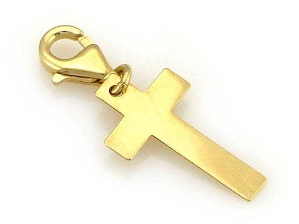 Złota zawieszka do bransoletki na karabińczyku krzyżyk pr. 585