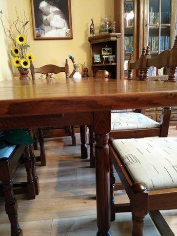 Stół dębowy, rozkładany z krzesłami