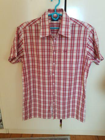 Koszulka t-shirt LEE na guziki piękna czerwona kratka rozmiar M
