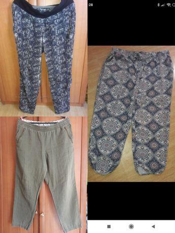 Тоненькие летние штаны бриджи брюки Лен х.б