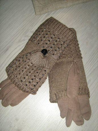 Перчатки женские рукавичка варежка три в одном все отдельно снимается