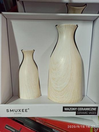 Wazony ceramiczne na kwiaty ozdoba kolor jasny
