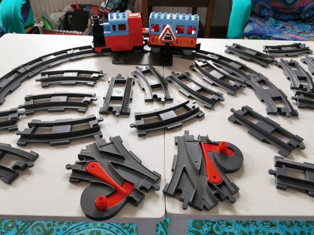 Klocki Lego Duplo tory kolejowe zestaw 24 szt. lokomotywa wagon