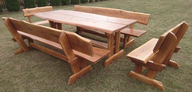 Meble ogrodowe DĄB, komplet ogrodowy,stół 4 ławy