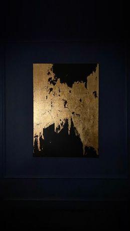Czarno-złoty obraz abstrakcja, rękodzieło, nie wydruk! 80x100